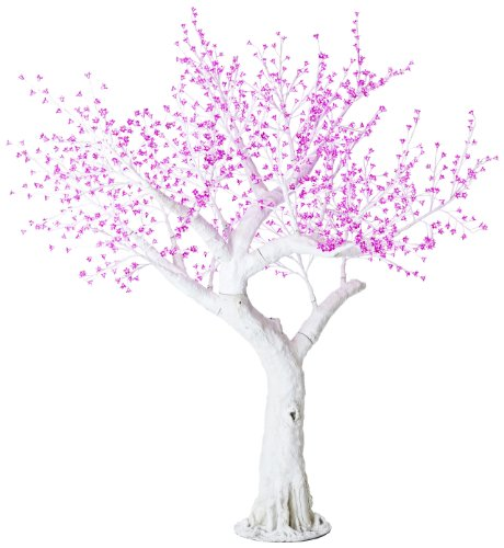 Arclite Nbl-230-5 Bonsai Cherry Blossom Tree With Leaves, 0.9M Height, With White Trunk, Pink Crystals And Pink Lights