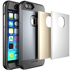 iPhone 6 Case, SUPCASE [Heavy Duty] Apple iPhone 6 Case 4.7 inch [Water Resist, Dust and Shock Proof] Full-body Rugged Hybrid Protective Case with Built-in Screen Protector, 3 Changeable Cover (Gun Metal/Silver/Gold), Dual Layer Design + Impact Resistant
