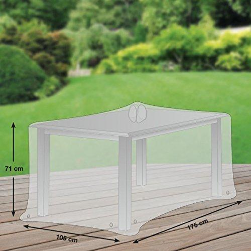 Premium Schutzhülle für Gartentisch rechteckig aus Polyester Oxford 600D - lichtgrau - von 'mehr Garten' - Größe L (175 x 105 cm)