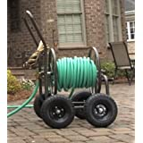 Portable Wheel Garden Hose Caddy,Steel Adjustable Water Tube Holder Reel Container & E book
