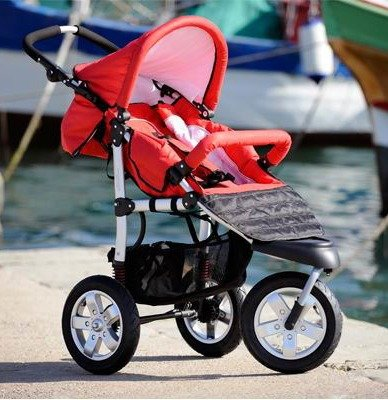 Red Pushchair  &  Carrycot / Stroller plus FREE Footmuff, Mamma Bag  &  Rain Cover