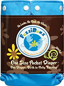 FuzziBunz One Size Diaper Big Sky, 10-45 Pounds