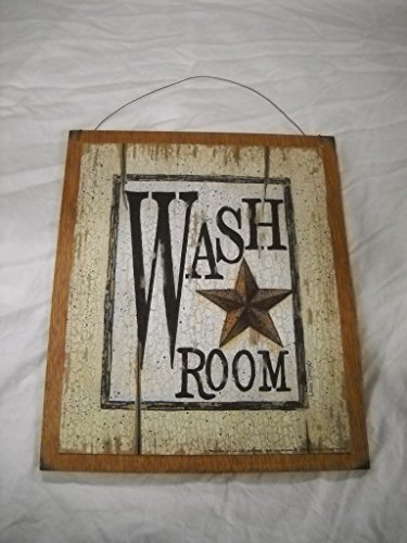 Wash Room Barn Star Country Bathroom Outhouse Bath Wooden Wall Art Sign