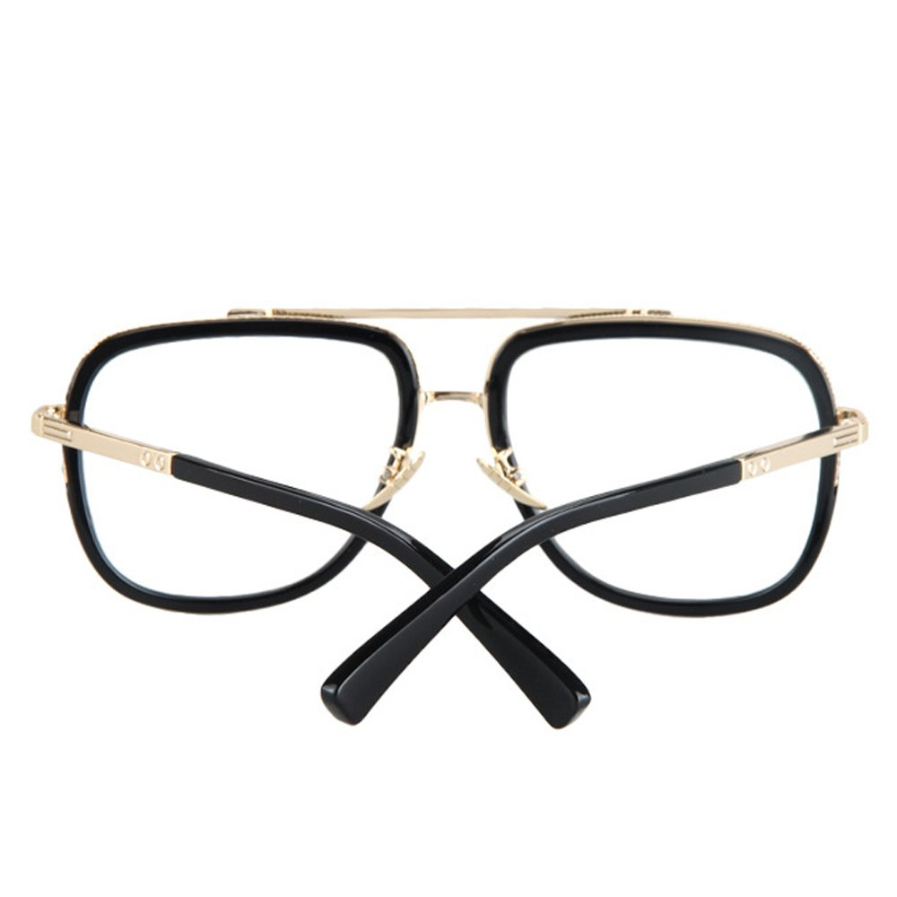 Vintage Men's Oversized Big Square Metal Frame Myopia Optical Eyeglasses 2