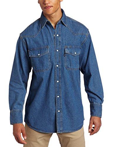 Key Apparel Men's Long Sleeve Western Snap Denim Shirt, Denim