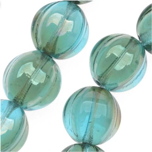 Beadaholique Czech Pressed Glass 25Piece Round Melon Beads, 8mm Diameter, Aquamarine Celsian Picture
