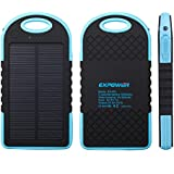 Expower(R) Blue Solar Panel Rain Resist shockproof Charger 6000mAh Portable Charger Backup External Battery Power Pack for iPhone6 6 plus 5S 5C 5 4S 4, iPad Air, iPads, iPods and Most Kinds of Android Smart Phones and More Other Devices