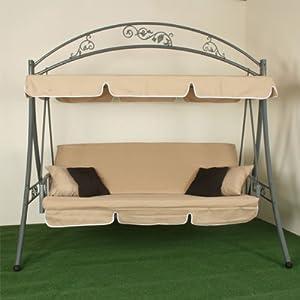 xxl balancelle de jardin pliable nostalgie 230 cm beige jardin. Black Bedroom Furniture Sets. Home Design Ideas