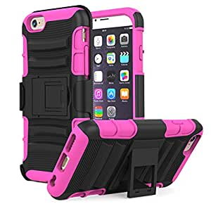 Apple iPhone 6 Plus Case - MoKo Holster Cover with Kickstand and Belt Clip Swivel [Heavy Duty] Rugged Protective Case for iPhone 6 5.5 Inch Smart Phone 2014 release, MAGENTA