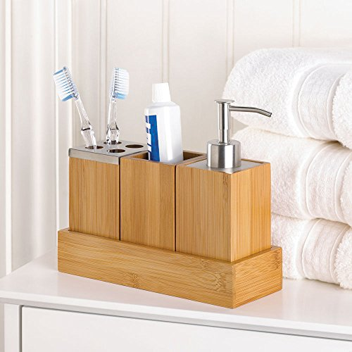 Bamboo Bathroom Accessory Set in Tray Soap Dispenser Cup Toothbrush Holder (Snoopy Soap Dispenser compare prices)