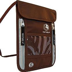 Venture 4th Passport Holder Neck Pouch With RFID #1 Travel Wallet (Brown)