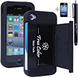 Rugged High Impact Credit Card Holder Wallet Soft + Hard Hybrid Combo Case Cover for Apple iPhone 4/4S + Stylus + Screen Protector - Black