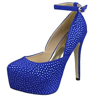 Womens Platform Shoes Sexy Glitter Scoop Vamp High Heel Dress Shoes Blue SZ 6