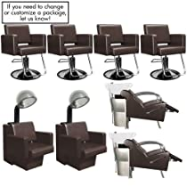 Hot Sale Havana Basics Brown Collection - Four Stations featuring Four (4) Styling Chairs - Brown w/Round Base, Two (2) Stockholm Shampoo Units Brown w/White Bowl and VBK (Black bowl is available) & Two (2) Havana Dryer Chairs - Brown from SalonSmart