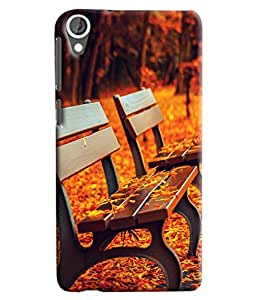 Blue Throat Bench With Orange Tree Printed Designer Back Cover/ Case For HTC Desire 820