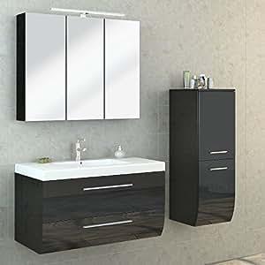 bad m bel set hochglanz badezimmer spiegel schrank waschbecken unterschrank led. Black Bedroom Furniture Sets. Home Design Ideas