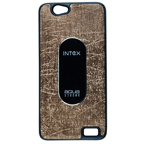 Casotec Metal Back TPU Back Case Cover for Intex Aqua Xtreme - Brown  available at amazon for Rs.119