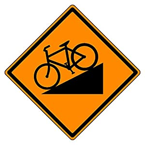 MUTCD W7-5 Orange Bike Hill Sign, 3M Reflective Sheeting, Highest Gauge Aluminum,Laminated, UV Protected, Made in U.S.A
