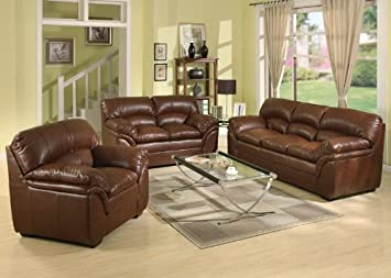 3pc Traditional Modern Leather Sofa Set - AC-JOY-S1