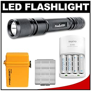 Fenix E21 Waterproof LED Torch Flashlight + Sanyo Eneloop Power Kit