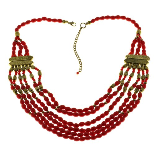 Party Red Necklace Fashion Handmade Costume Jewelry from India