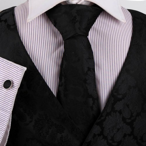Mens Designer Black pattern Tuxedo for men Vest/waistcoat Set Match Necktie Cufflinks Bowtie Hanky Set for Suit Vs1010-L