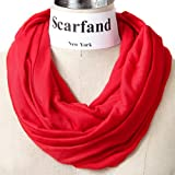 Scarfands Light Weight Jersey Infinity Scarf (Red)