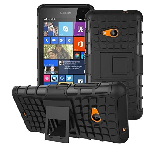 Higar Nokia Lumia 535 Tough Rugged Dual-Layer with built in Kickstand Case Cover - Black Color