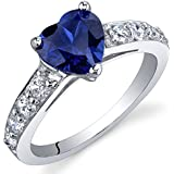 Dazzling Love 1.75 Carats Created Blue Sapphire Ring in Sterling Silver Rhodium Nickel Finish Sizes 5 to 9