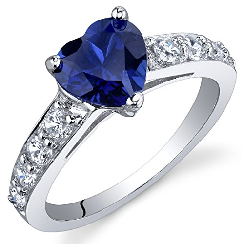Dazzling love carats created blue sapphire ring in for Man made sapphire jewelry
