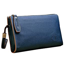 Teemzone Genuine Top Leather Business Crard Cash Holder Wrist Clutch Bag Handbag (middle, Dark Blue)