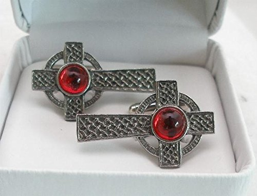 Solid Pewter Celtic Cross Cufflinks With Red Gem Center (Gift Boxed)
