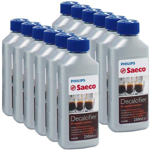 Saeco, Confezione da 12 decalcificanti per macchine da caffé espresso Saeco, 250 ml