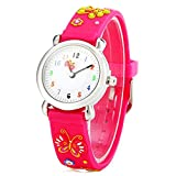 Picture Of Readeel Rose Red Silicone Absolutely Environmentally Friendly Materials Band Butterfly Cartoon Kids Watch