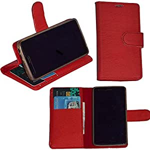 R&A Pu Leather Wallet Flip Case Cover With Card & ID Slots & Magnetic Closure For Micromax Canvas 4 A210