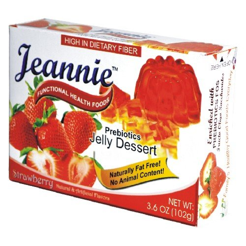 Jeannie Prebiotics 100% No Animal Content Gelatin-Free Dessert [High Fiber & Vitamin C], Strawberry, 3.6 Oz Boxes (Pack Of 24)