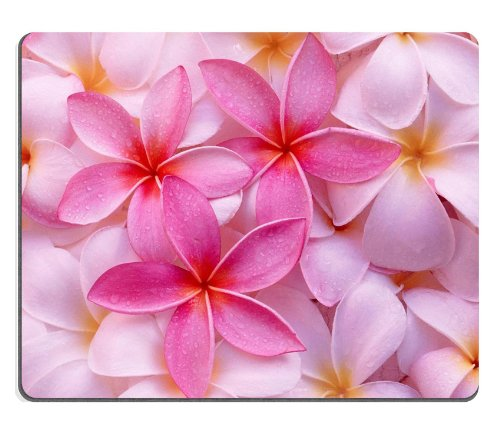 Tropical Pink Plumeria Flowers Exotic Hawaii Leis Fresh Pretty Mouse Pads Customized Made To Order Support Ready 9 7/8 Inch (250Mm) X 7 7/8 Inch (200Mm) X 1/16 Inch (2Mm) High Quality Eco Friendly Cloth With Neoprene Rubber Liil Mouse Pad Desktop Mousepad front-913124