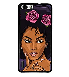 Girl with Flower Headgear 2D Hard Polycarbonate Designer Back Case Cover for Huawei Honor 6
