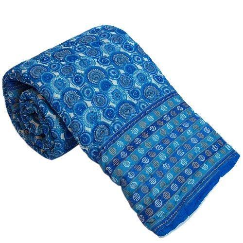 Bloque de mano Little India cama doble manta de estampado azul