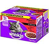Whiskas 1+ Katzenfutter Fleischauswahl in Sauce, 48 Beutel (2 x 24 x 100 g)