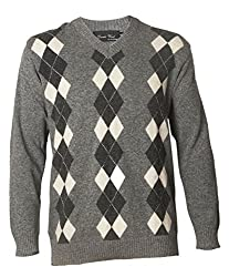 Prrem's Plus Size Wool Grey Argyle Sweater for Men in Size 52