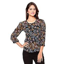 Ossi Regular Fit Black Floral Long Sleeve top (HS3078-S)