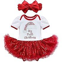 iiniim Baby Girls My First Christmas Sequins Santa Tutu Romper Headband Outfits 3 Months