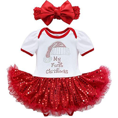 6ca1d9add08c5 iiniim, IINIIM 2pcs Costume Noël Bébé Fille Barboteuse avec Bandeau Tenus  Ensembles Fête ...