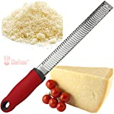 Chefcoo™ Cheese Zester Grater ~ Lemon Zester - Use for Citrus Lemon Lime Orange Hard Cheeses Ginger Cinnamon Nutmeg Chocolate Vegetable & Spices (Red)