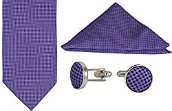Clareo Men's Checkered Tie Set - Combo Pack of 3 (Blue)