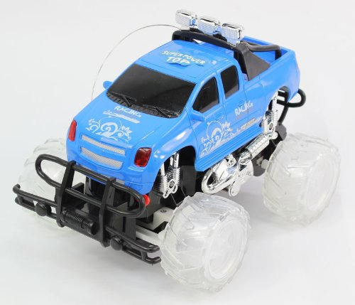 BLUE Full Function Remote Control Music and Light Police RC Truck with Lights Monster Truck w/ Rechargeable Batteries