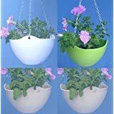 "Self Watering Hanging Planter In White,Beige Or Green Colors;8.2"" With Metal Chain(set Of FOUR In Any Color Combination)"