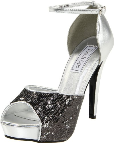 Touch Ups Women's Debbie Ankle-Strap Sandal,Silver Sequins,8.5 M US