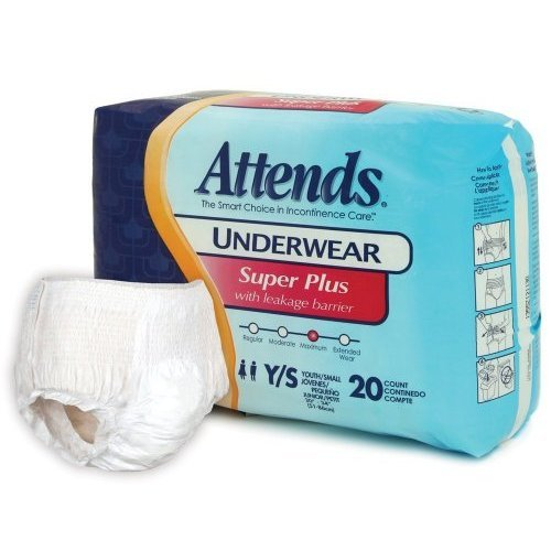 Attends Super Plus Absorbency Protective Underwear Size Youth/Small (1 Pack 20 Underwear)